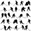 Hockey silhouettes set - Stock Vector