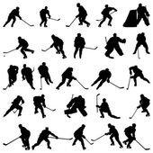 Hockey silhouettes set — Stockvector