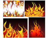 Fire backgrounds set — Stock Vector
