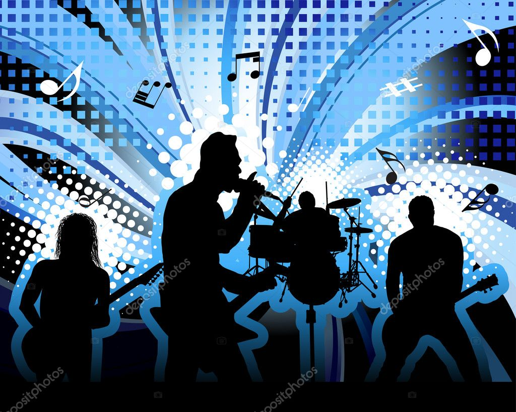 Rock group singers theme. Vector illustration for design use. — Stock Vector #3475852