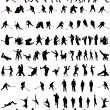 Stock Vector: Dance and sport silhouettes set