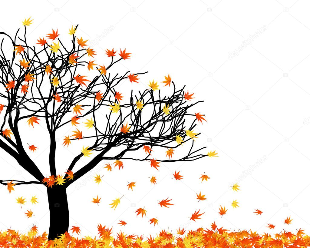 Twisted row of autumn  maples leaves. Vector illustration. — Stock Vector #3597954