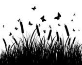 Wiese-silhouetten — Stockvektor