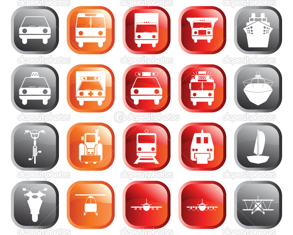 Transportation set of different vector web icons — Stock Vector #3604862