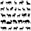 Deer and goats silhouettes set — Stock Vector