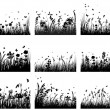 Stock Vector: Meadow silhouettes