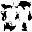 Bats silhouettes set — Stock Vector
