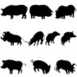 Pigs and boars silhouettes set - Stock Vector