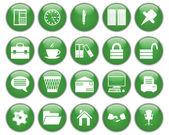 Entreprise et bureau ensemble d'icônes — Vecteur