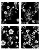 Seamless floral backgrounds set — Stock Vector