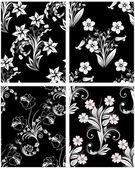 Naadloze floral achtergronden instellen — Stockvector