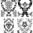 Seamless damask patterns set — Stock Vector