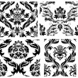 Stock Vector: Seamless damask patterns set