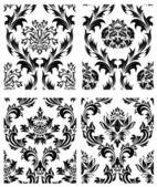 Seamless damask patterns set — Stock Vector