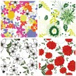 Stock Vector: Seamless floral backgrounds set