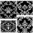 Seamless damask patterns set - Stock Vector