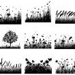 Vector de stock : Meadow silhouettes