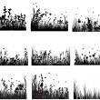 Vettoriale Stock : Meadow silhouettes