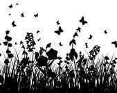 Siluetas del prado — Vector de stock