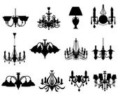 Set of lamps silhouettes — Stockvector