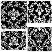 Seamless damask patterns set — Stockvector