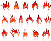 Fire icon set — Stockvector
