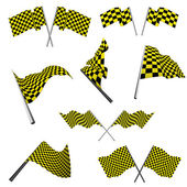 Checked racing flags set — Stock Vector