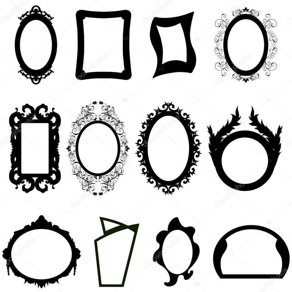 Set of different modern and ancient mirrors silhouettes. Vector illustration. — Stock Vector #3636142