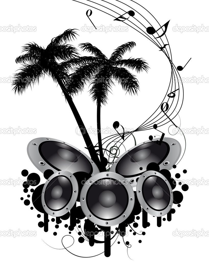 Tropical grunge music background with copy space  Stock Vector #3636234