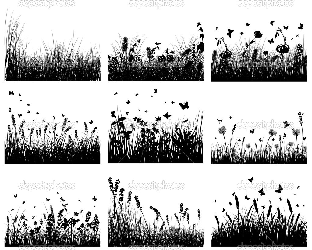 Vector grass silhouettes backgrounds set. All objects are separated. — ベクター素材ストック #3636435