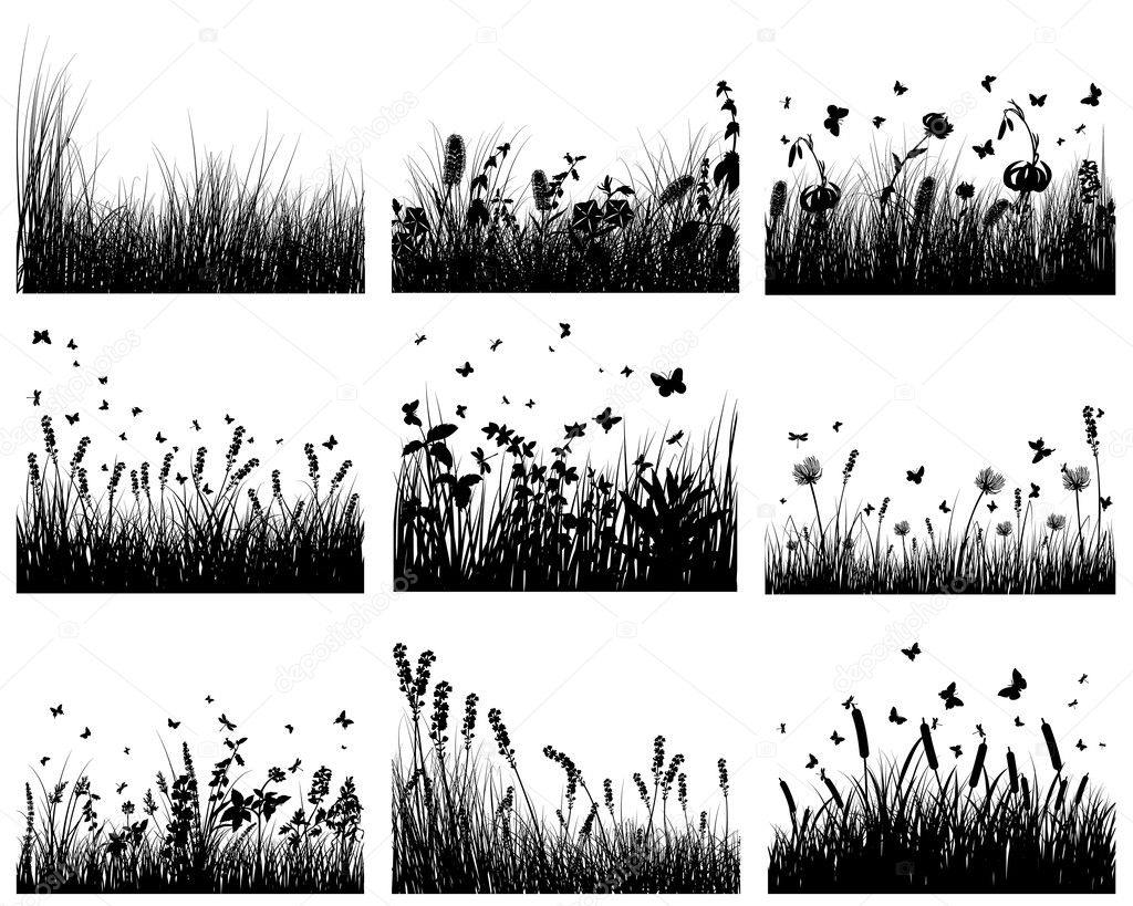 Vector grass silhouettes backgrounds set. All objects are separated.  Stok Vektr #3636435