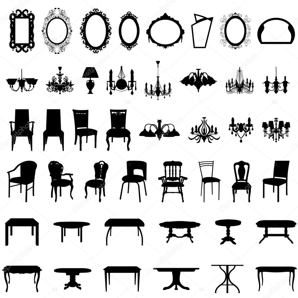 Set of different furniture silhouettes. Vector illustration. — ベクター素材ストック #3638648