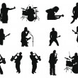 Set of rock and jazz silhouettes - Stok Vektör