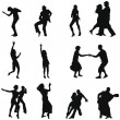 Stock Vector: Dance silhouette set