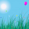 Grass and balloon - Stockvektor