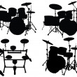 Stock Vector: Drums kits