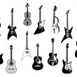 Guitars silhouettes - Stock Vector