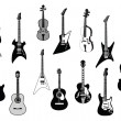 Stock Vector: Guitars silhouettes