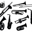 Silhouettes of wind instruments — Stock Vector