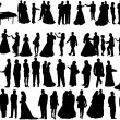 Wedding silhouettes — Stock Vector