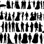 Wedding silhouettes — Stock Vector