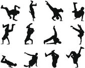 Break-dance conjunto silueta — Vector de stock