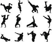 Breakdance silhouet set — Stockvector