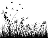 草原のシルエット — ストックベクタ