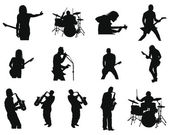 Set of rock and jazz silhouettes — Stok Vektör