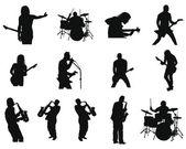 Set van rock en jazz silhouetten — Stockvector