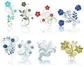 Satz von Blumen — Stockvektor