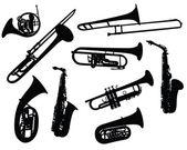 Silhouetten van blaasinstrumenten — Stockvector