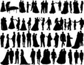 Bruiloft silhouetten — Stockvector