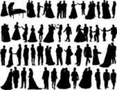 Wedding silhouettes — Stockvector